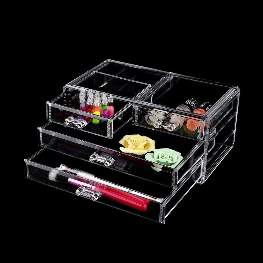 4 Drawers Makeup Organizers Clear Makeup Case Drawers Cosmetic Organizer Jewelry Storage Acrylic Cabinet Box t organizers Organizer Drawer 23.1x13x10.5cm