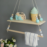 DIY models cute pine wood tray coat rack baby room wall hanging decoration