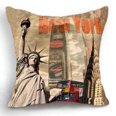 Nordic Cojines Decorativos New York Statue of Liberty Decorative Pillow Home Decor Cushion Coussin Colorful Fun Cojin Sierkussen