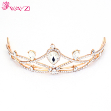 wayzi brand zinc alloy gold bridal hair pieces tiara crown headpieces for wedding