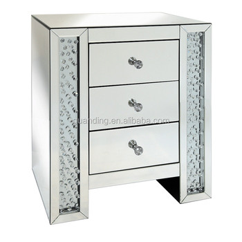 French Country Style Antique Silver Crystal Mirrored 3 Drawer Bedside Table