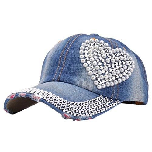 Denim Hats Rhinestone Studded Sparkly Bling Baseball Cap Women AYO1100