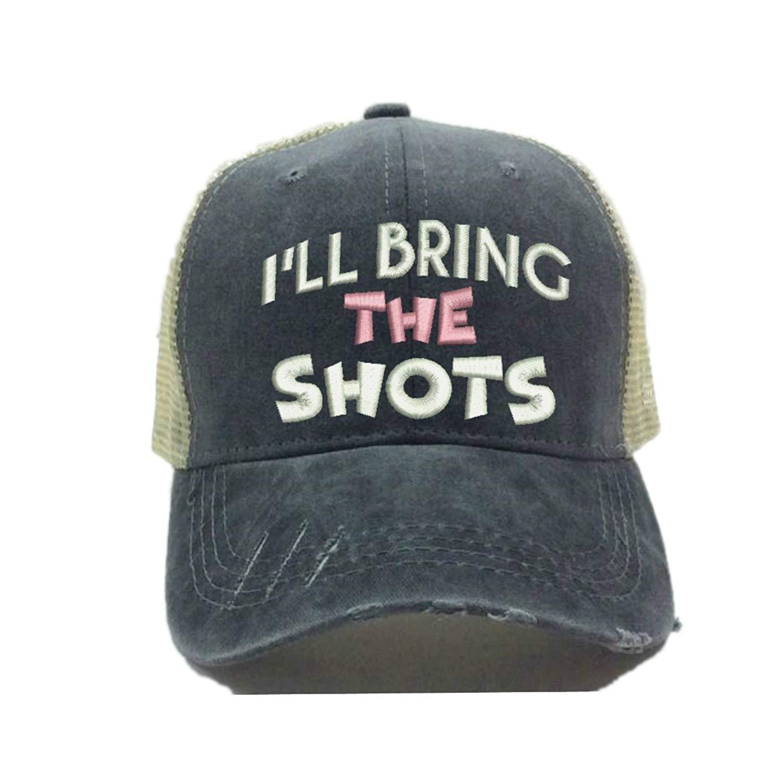 Distressed Trucker Hat I'll Bring The Alcohol Bad Decisions Custom Funny Party Ball Cap (Light Pink Shots)