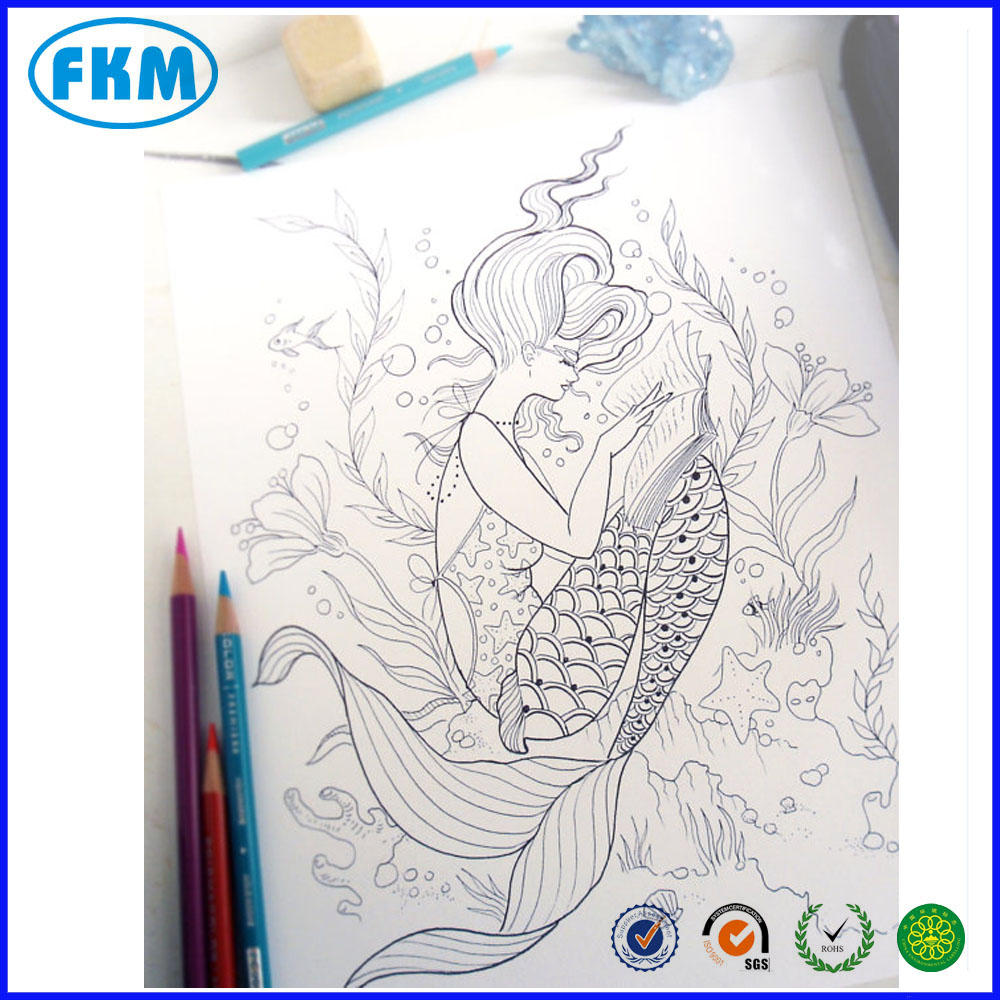- Reading Mermaid Coloring Page - Instant Download Print Your Own