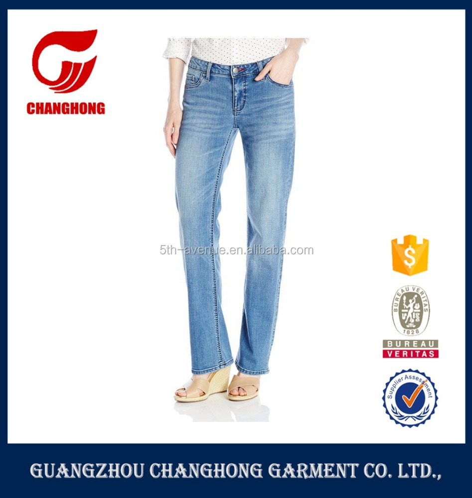 Stretch simple five pocket light blue jeans denim jeans straight leg and embroidery on back pockets
