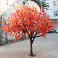 Artificial red little plastic maple tree,red leaf maple tree