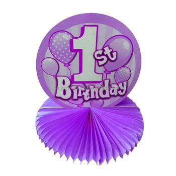 Happy Birthday Table Decoration Paper Honeycomb Centerpiece