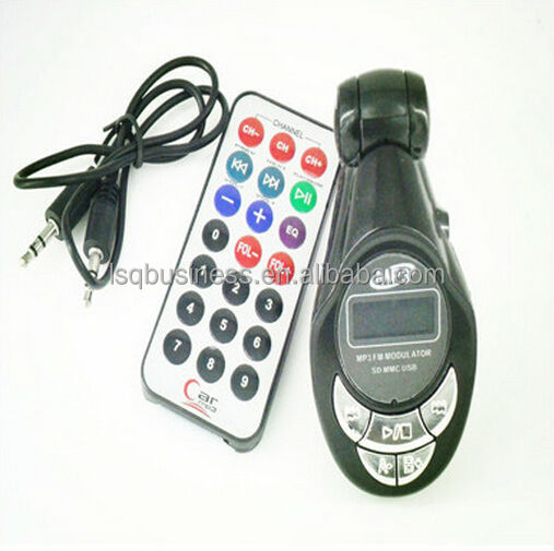 Auto LCD car mp3 player wireless FM transmitter Modulator Remote USB SD Earphone Slot black color