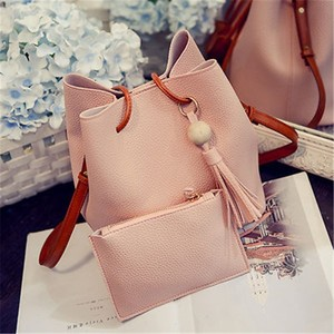 Guangzhou Leather PU Sack Ladies Fancy Shoulder Bucket bag