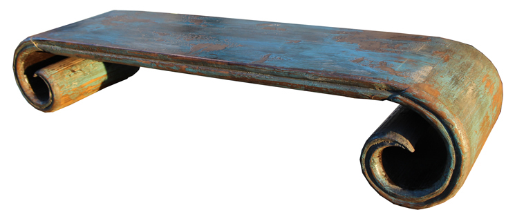 Chinese antique recycle wood shanxi scroll table buy for Antique scroll coffee table