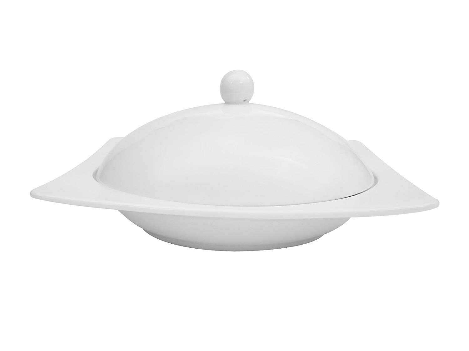 CAC China KSE-208 Kingsquare 8-Inch by 6-7/8-Inch by 1-1/2-Inch 10-Ounce Super White Porcelain Square Pasta Bowl with Lid, Box of 8