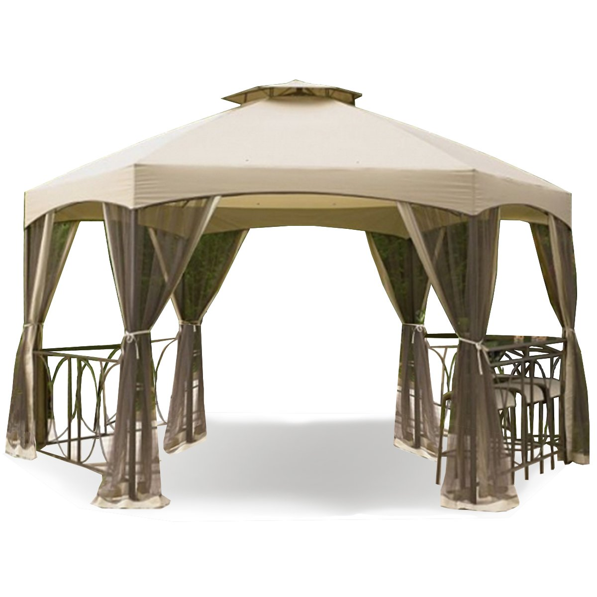 Garden Winds Replacement Canopy and Netting Set for The Dutch Harbor Gazebo - Riplock 350