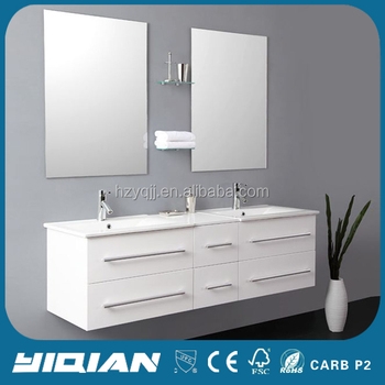 Modern Bathroom Double Sink Cabinet Wall Hung Vanity Pvc Unit Toilet Mounted