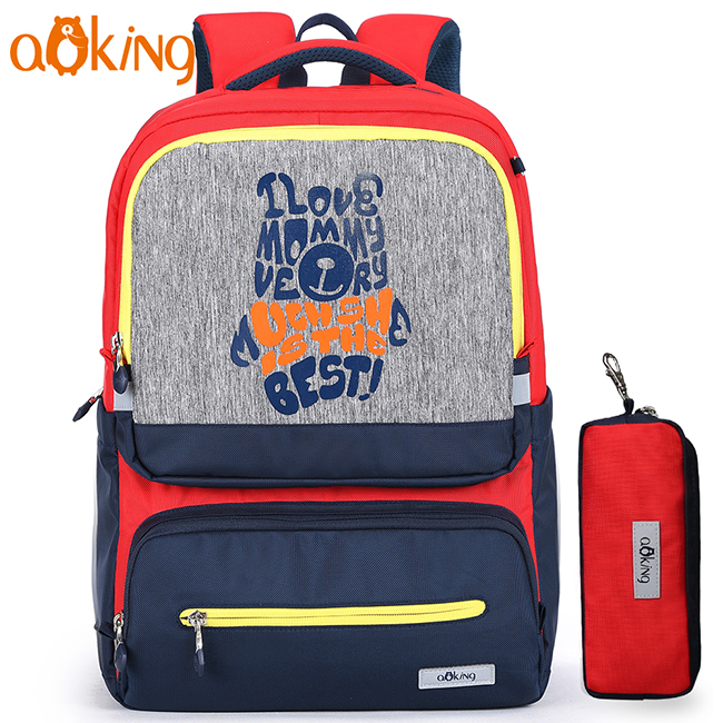 Aoking ergonomic design reflective massage primary student kids school bag for children with pencil bag
