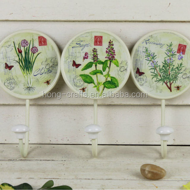 hot sale paper decal metal hanging flower wall hooks for home decor
