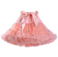 Children's baby bow tie chiffon fluffy pettiskirts ballet dance girls sequin skirt kids mini glitter stars tutu skirt