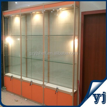 Free Standing Lockable Glass Display Cabinets/Tower Glass Vitrine Display  Cabinet Case