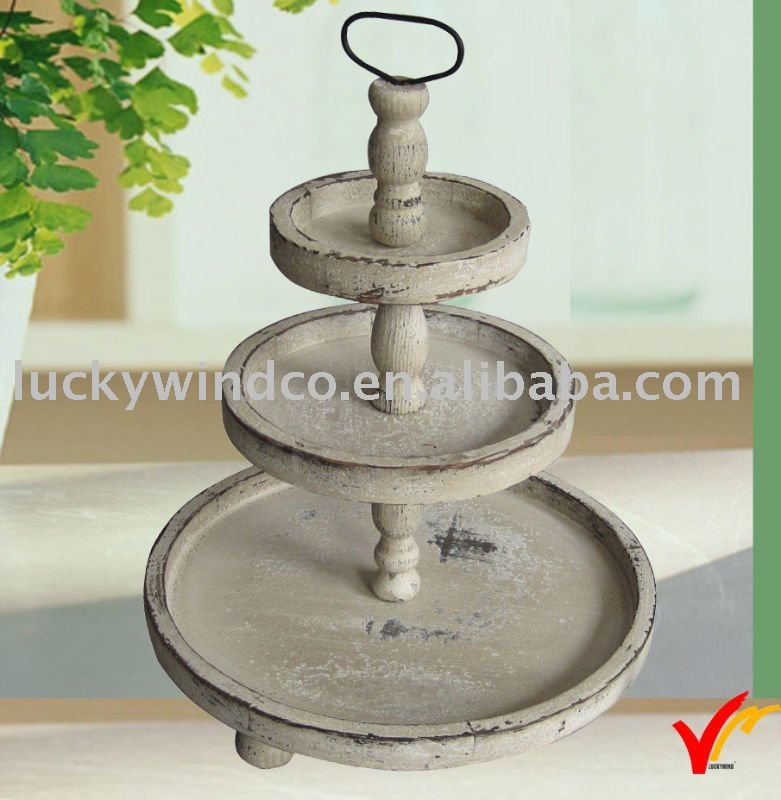 Very 3 Tiers Retro Antique Round Wooden Tray - Buy Round Wooden Tray  XY33