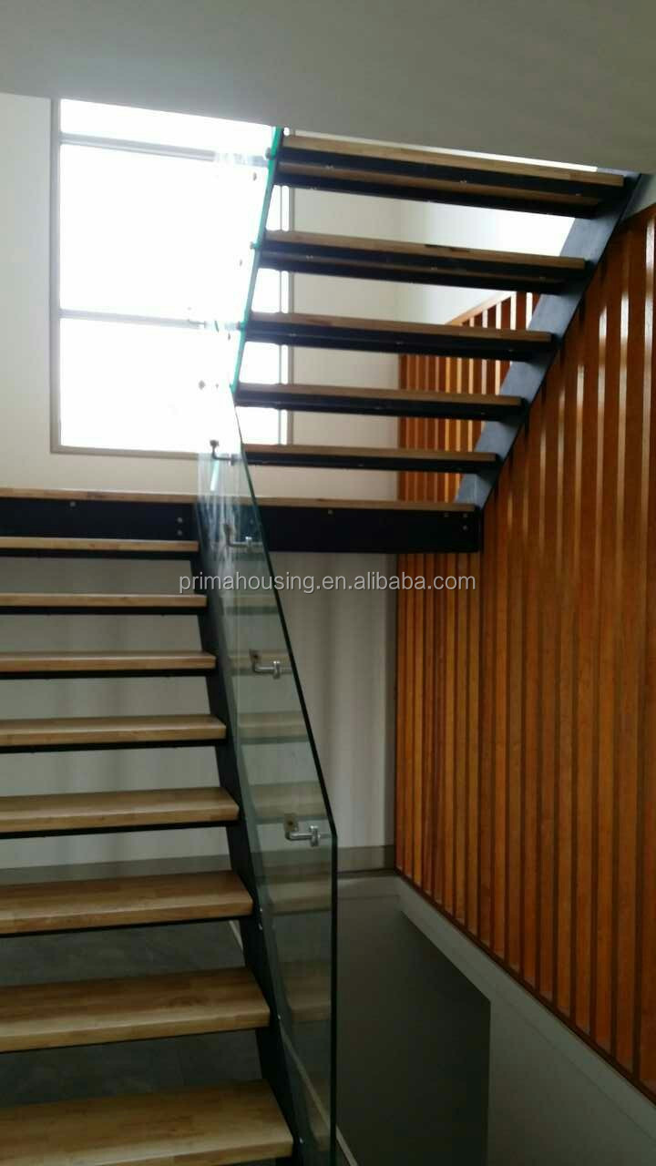 Low Cost Single Beam Wood Open Riser Staircase