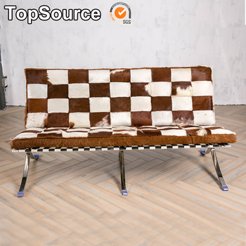 Brown And White Stainless Frame Barcelona Modern Cowhide Sofa Product On Alibaba