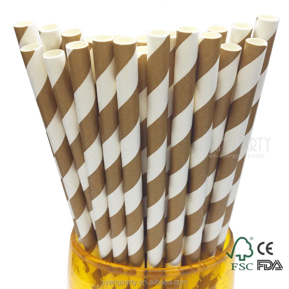 Cyang Biodegradable Decorative Food Safe Chocolate Brown Striped Printed Paper Chocolate Milk Straws 6mm 25ct