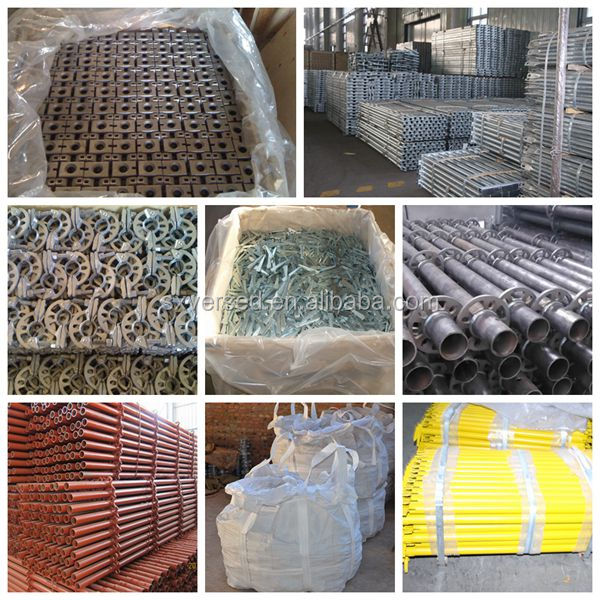 The plywood formwork and scaffolding steel shoring props