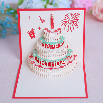 Birthday Cake And Candles New Design Handmade Paper Sculpture Shape 3D Pop Up Greeting Cards
