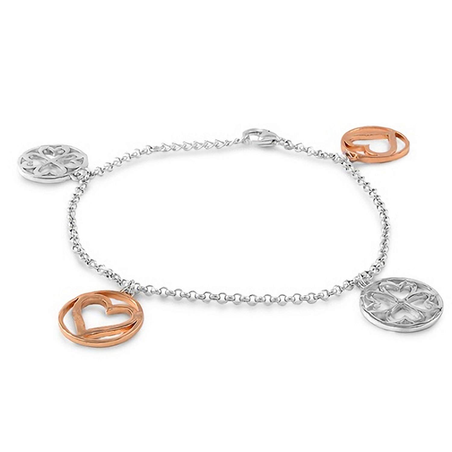 ad5d5dee4b0 Get Quotations · 14mm Circle Four Leaf Clover and Heart Charm Bracelet .925 Sterling  Silver 7.5inch Lobster