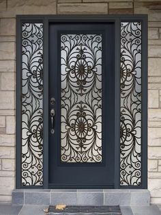 Modern House Designs Flat Top Grill Iron Glass Exterior Entry Door 60256128214 on aluminium window grill design