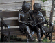 Two Kids on a Bench modern garden sculpture