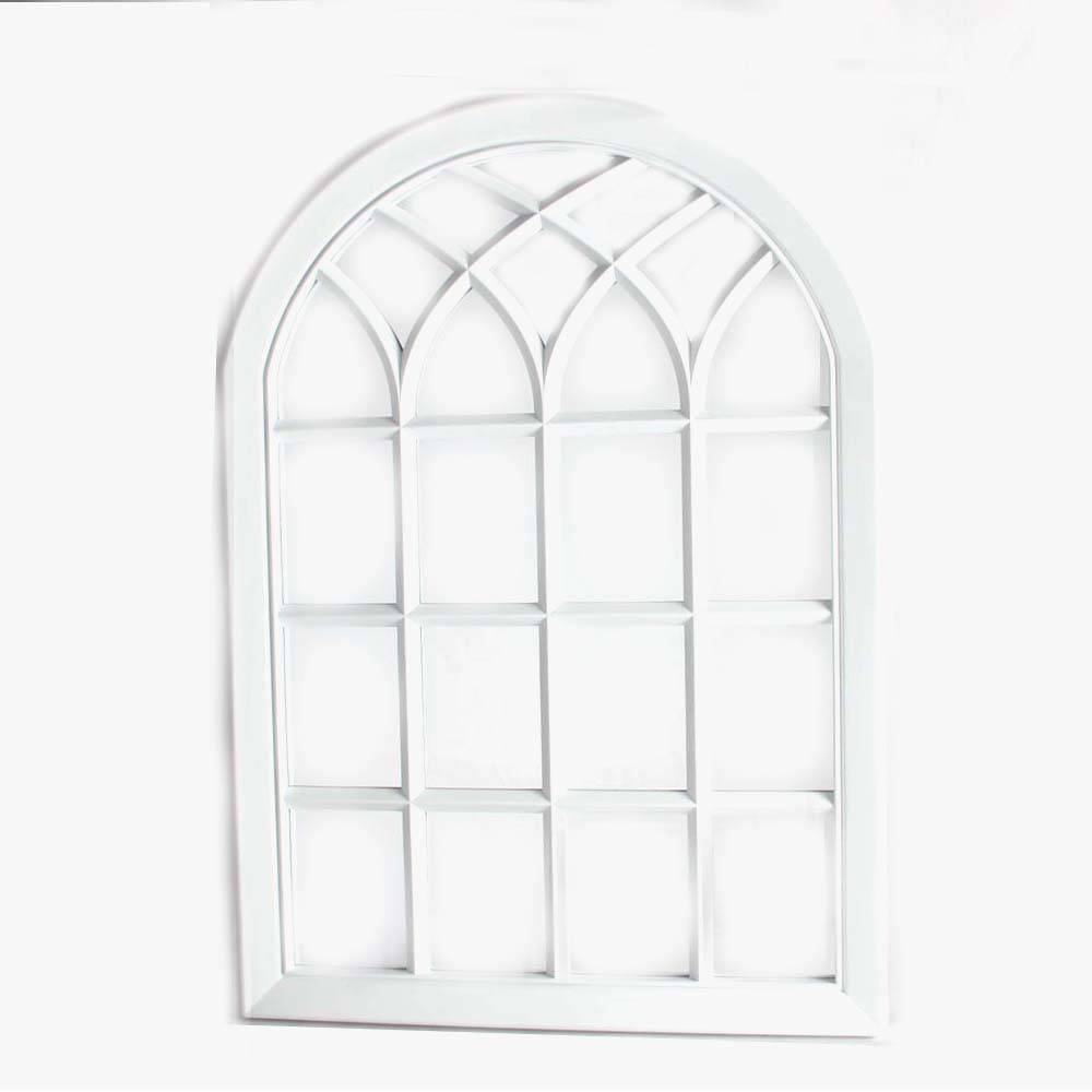 price cutting white color arched decorative outdoor wall mirror