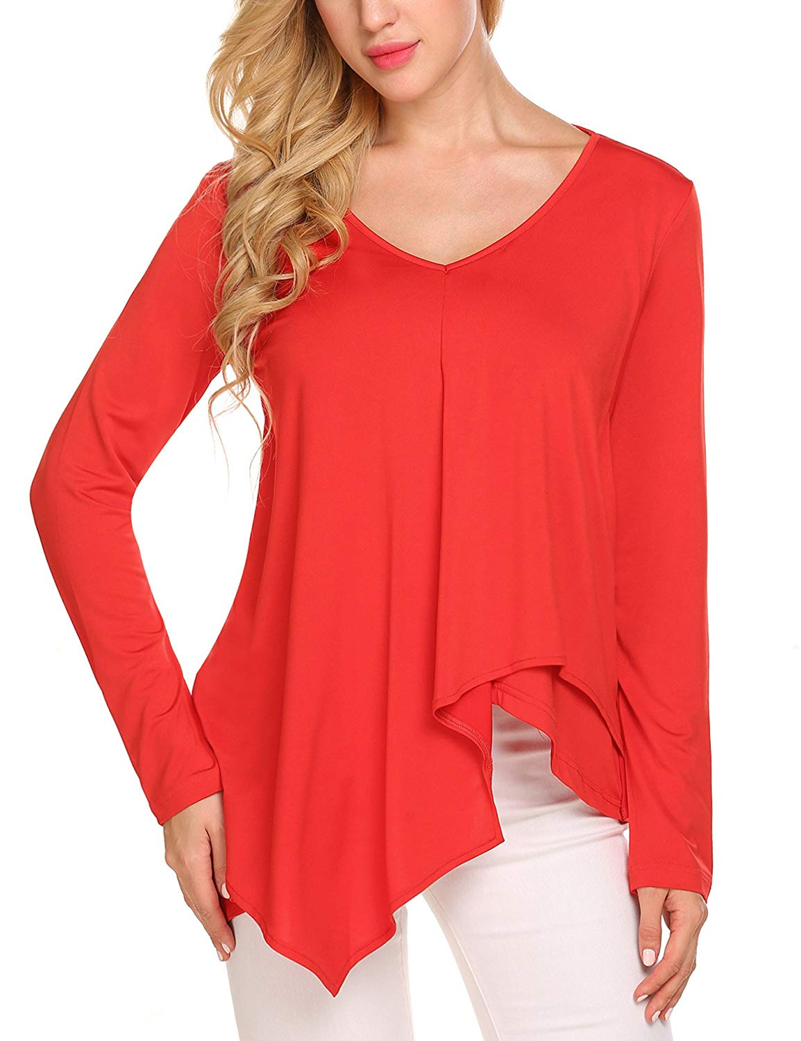 81d4c7b95fef Get Quotations · Zeagoo Women Casual Pleated Top Double Layer Flowy Tunic  Asymmetrical Hem Solid Loose Fit Tunic Shirts