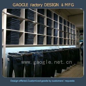 wooden baking paint shop furniture garment display for jeans