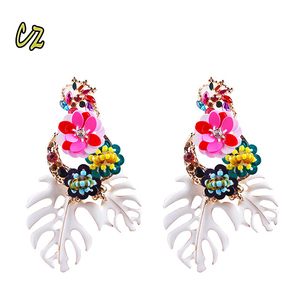 ZA Series 2018 New Arrival European Women Brands Exaggerated Big Leaf Beaded Sequins Earring Diamond Flowers Statement Earrings