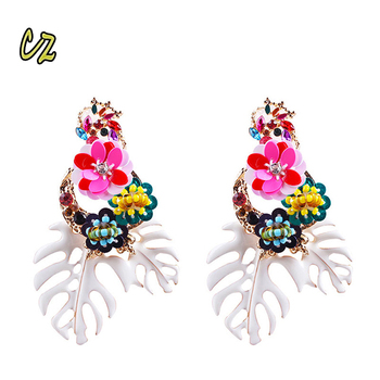 6d02f56414 ZA Series 2018 New Arrival European Women Brands Exaggerated Big Leaf  Beaded Sequins Earring Diamond Flowers
