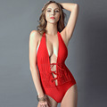 2016 Fashion Sexy Deep V Women Swimwear Beachwear Halter One Piece Swimsuit Red Bandage Bikini costumi