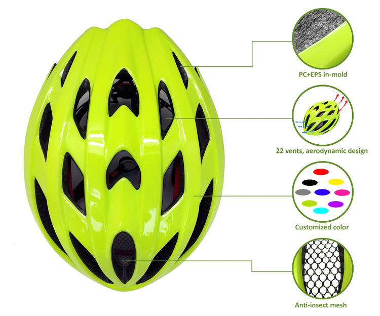Fluorescent green road racing bike helmet 8