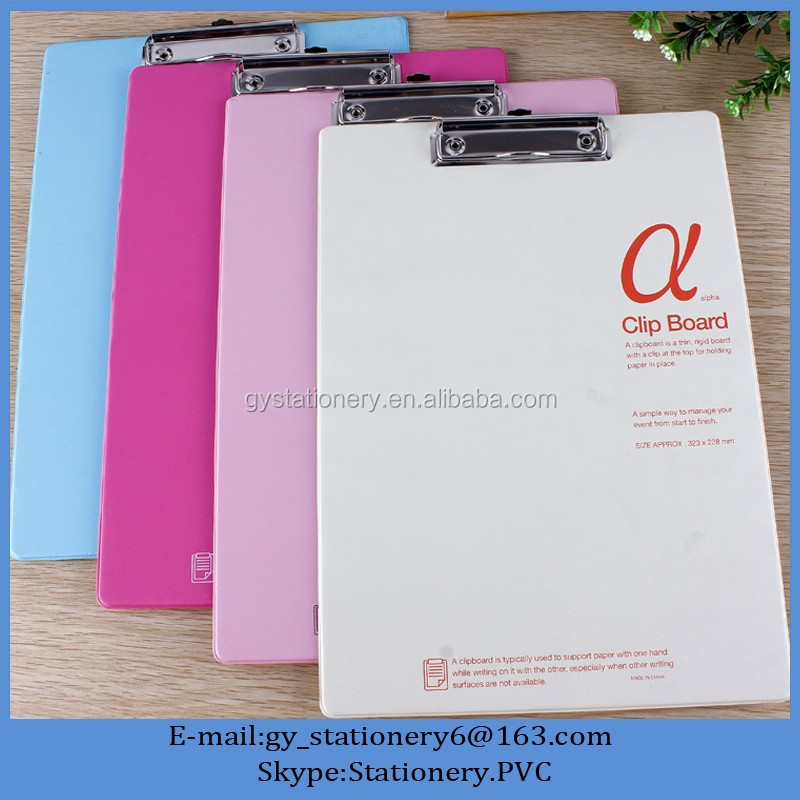 2016 pvc boards, medical clipboard, a5 plastic folder