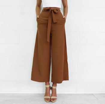 af52966b352e55 ZH2442G 2018 High Waist Belted Zipper Palazzo Pants Ginger Frill Waist  Ruffle Wide Leg Pants Women