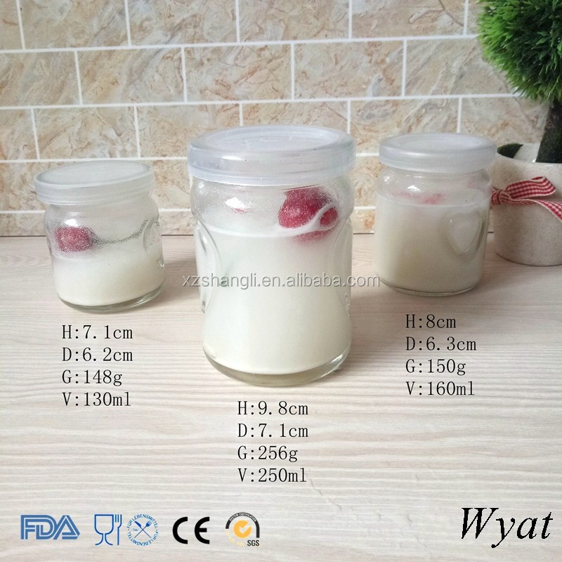Cheap Cylinder Round 100ml 150ml 250ml Glass Yogurt Pudding Jars