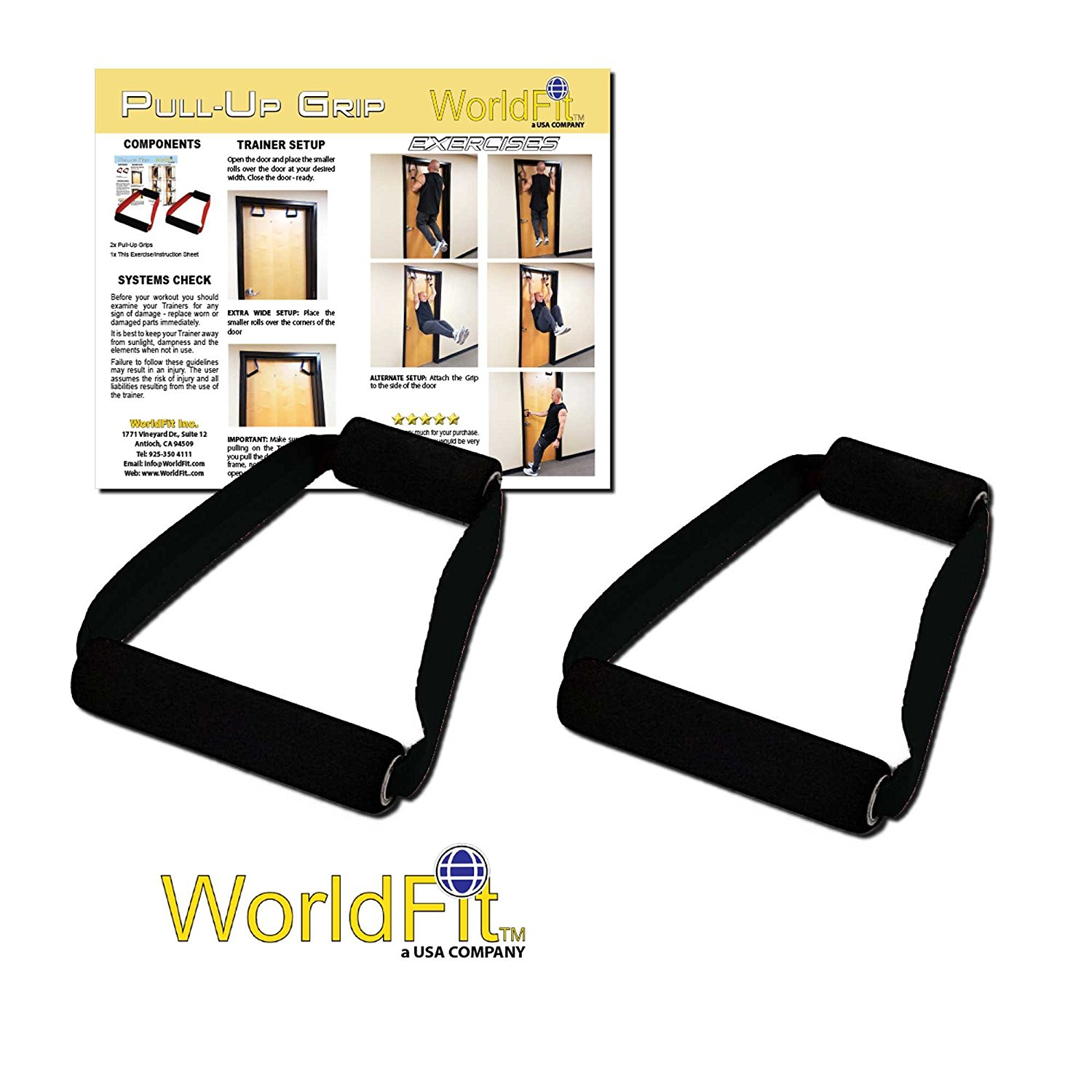 WorldFit Pull-Up Grips for Door in Home, Office and Hotel, Portable Pull Up Bar Home Gym (black)