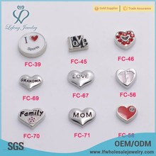 Cheap bulk new arrival colorful floating lockets charms