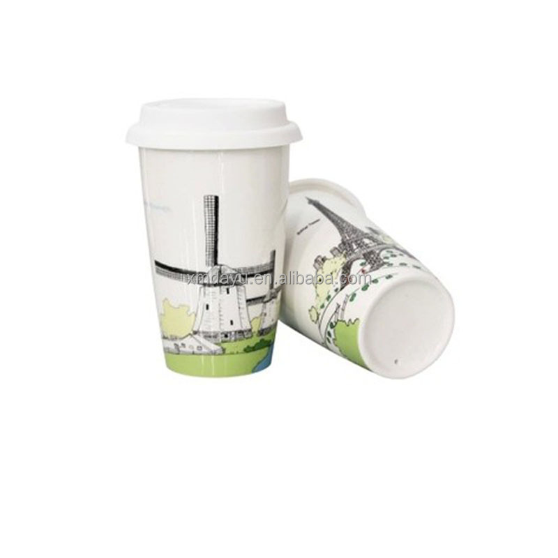 Free Sample FDA Drinkable Double Wall Ceramic Travel Mug with silicone lid фото
