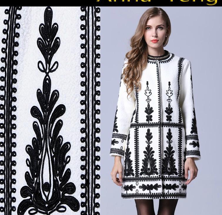 С круглым вырезом длинный рукав вышивка шерсть пальто женщины в осень зима пиджаки средний - длинная пальто