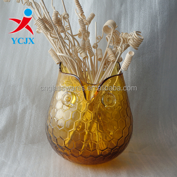 Amber Colored Owl Shaped Glass Vase Buy Colored Glass Vaseamber