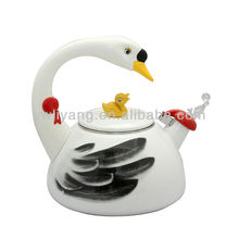 Manufacturer Enamel Animal Shaped Tea kettle White Swan Enamel Whistle Kettle