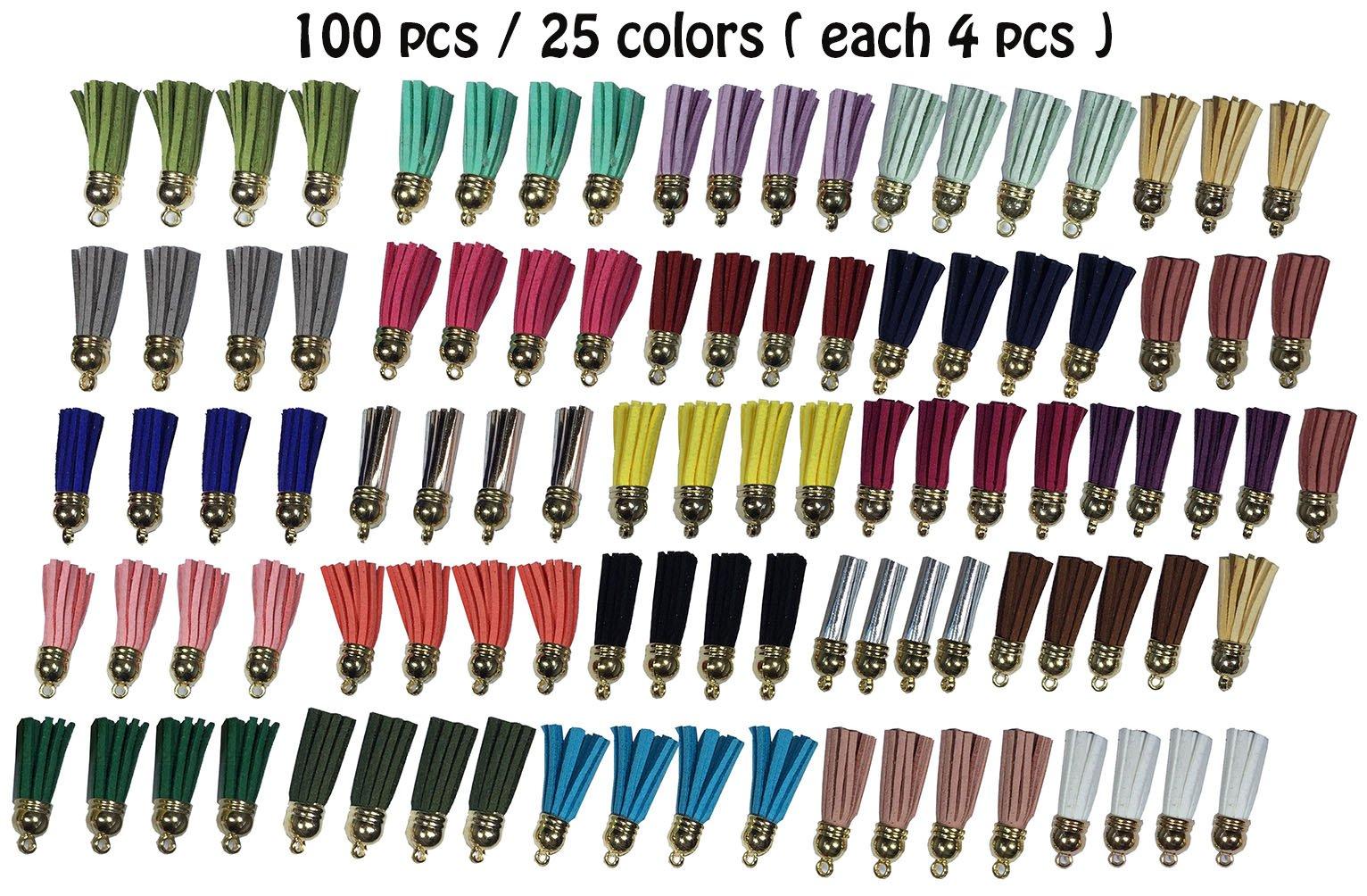 levylisa 100pcs 25 Colors Suede Tassels Pendant,Colorful Tassel with Gold Cap,Fringe Tassels,Faux Leather Tassels Charms,Suede Leather Tassel Charm,Necklace Pendant (Multicolored)