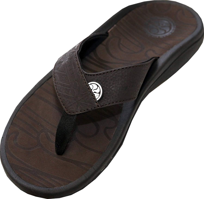 3ada8f1f2beec Get Quotations · Hawaiian Island Creations Mens Kapena Flip Flops (HIC Flip  Flops)