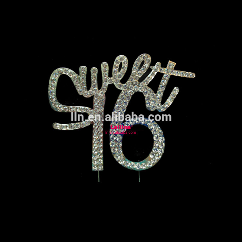 Sweet 16 Birthday Number Cake Topper Crystal Diamante Rhinestone
