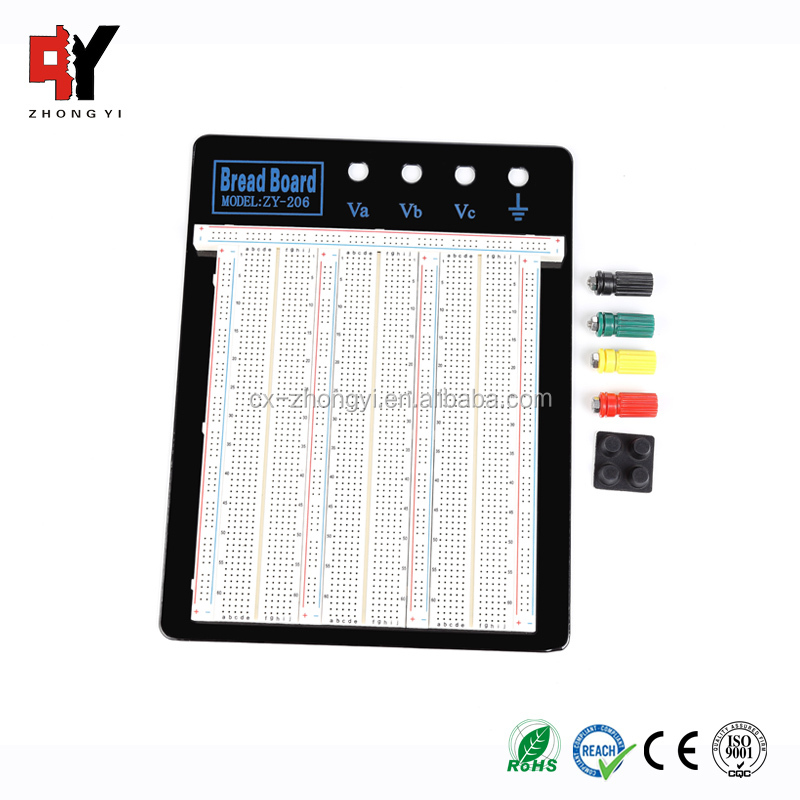 4 Binding Posts Round Hole Breadboard Aluminum Backing Circuit Breadboard